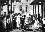 Imagen de finales del siglo XIX de un grupo de enfermos recluidos en un manicomio